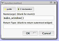 FLUID Function/Method Dialog